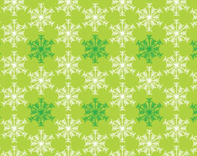 Half Yard Snow Days - Shadow Snowflake in Lime Green - Snowflakes - Cotton Quilt Fabric - Mitzi Powers - Benartex Fabrics - 3661-44 (W3528)