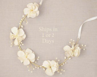 Silk Flower Wedding Hairband   Ivory Bridal Hair Vine   Gold Pearl Headband   Floral Hairpiece   Hair Wreath Halo   Ready to Ship 1 or 2 Day