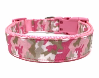 Pink Camo Dog Collar Adjustable