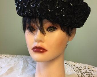 Vintage Black Sequence Wool Hat/1960's Black Sequence Vintage Hat/Pillbox Hat/Glamour Hat