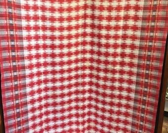 Vintage Turkey Red Damask Tablecloth/Antique Damask Tablecloth/Greek Key Daisies Tablecloth