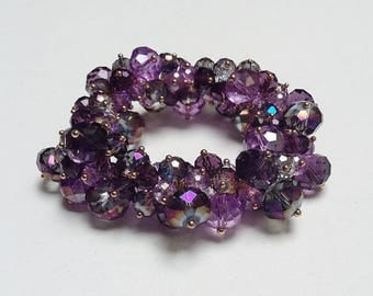 Purple Lilac Beaded Bracelet Stretch Aurora Borealis Chunky Beads Casual Fun Faceted Beads Daytime Or Evening / Party Jewelry