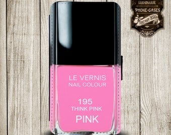 """Handytasche, Leather Wallet Phone Case  iPhone & Samsung, Sony Xperia  """"Nail polish pink"""""""