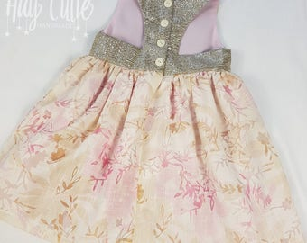 Hay Cutie Handmade Vintage Party Dress Upcycled fabric + Ready to ship + Size 2