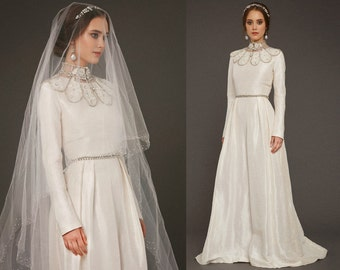 VAZILIKI / long sleeve ivory wedding dress a line wedding gown cover up honorable with glitter ivory silk and linen, Victoria Spirina