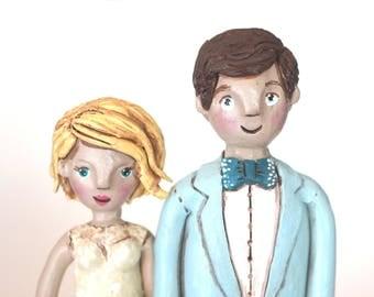 Custom couple sculpture folk art portrait in polymer clay