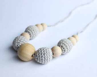 Nursing Necklace, Breastfeeding Necklace, Crochet Jewlery, Teething Necklace, Beads