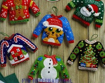 Bucilla Ugly Sweaters ~ 6 Pce. Felt Christmas Ornament Kit #86674, Frosty, Santa DIY