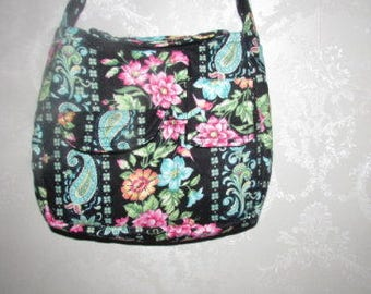 Handmade Quilted Purse,  black stripe teal  and flower quilted, Handbag, Quilted handbag, 253A