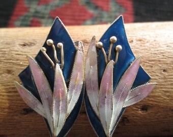 Beautiful Enamel on Sterling Silver Vermeil Lily Post Earrings