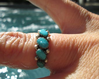 Turquoise and Sterling Silver Band Ring Size 5.75