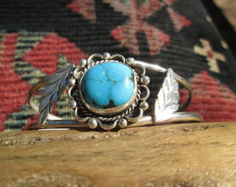 Native American Turquoise and Sterling Silver Feathers Cuff Bracelet