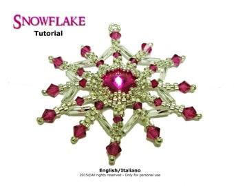 Tutorial Snowflake Pendant - beading pattern
