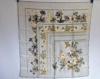 "Vintage Silk hand rolled Scarf Floral Flowers 69cm x 74cm / 27.1"" x 29.1"""
