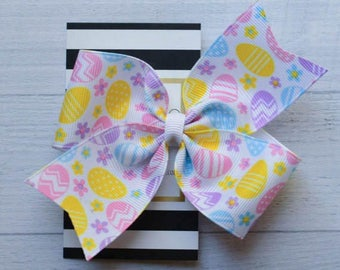 """Ready to ship! Large 4"""" Easter egg print Easter Spring hair bow hairbow"""