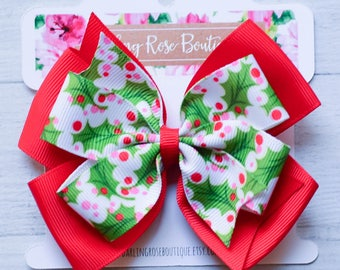 """Large 4"""" Christmas green and red holly berry pinwheel style hair bow - hairbow - hair clip - Christmas outfit"""