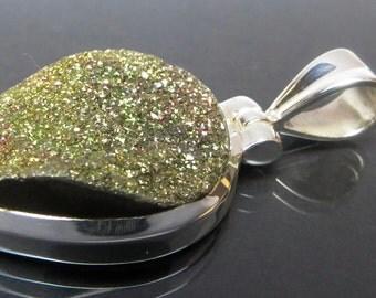 Druzy Pyrite sterling silver pendant / PY2 / cabochon sterling silver pendant / gift / rarity / rare / Gemstone Pendant