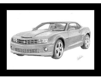 Car art, print of a pencil drawing of a 2012 Camaro
