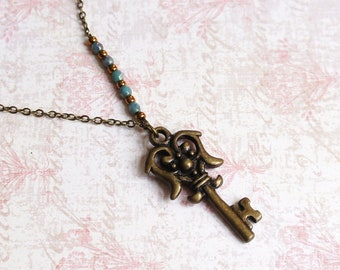 Antique Key Necklace, Small Key Necklace, Vintage Inspired Key Necklace, Bronze Key Necklace, Skeleton Key, Bronze And Turquoise Necklace