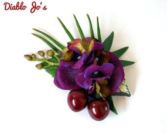 Black Cherry Tropical hair flower, Pin Up, Rockabilly, Hawaiian Luau