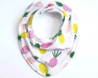 Pineapple baby bib, baby bib, bandana bib, scarf bib, baby shower gift, baby girl bib, drool bib, baby gift, pink pineapple bib,