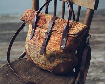 tapestry bag, Leather bag, Brown leather tote bag, leather bag, leather purse, leather handbag Textile-leather bag Pumpkin