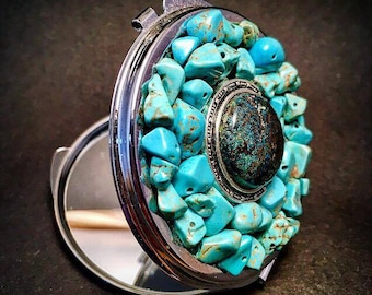 Chrysocolla Pocket mirror and turquoise.