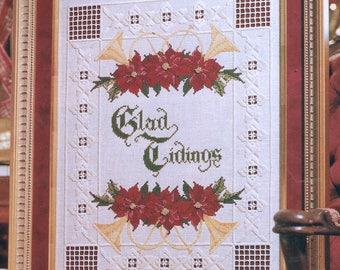 Hardanger Christmas Glad Tidings Sampler Cross Stitch Pattern - Cross Stitch Christmas Chart - Poinsettia Flower Cross Stitch