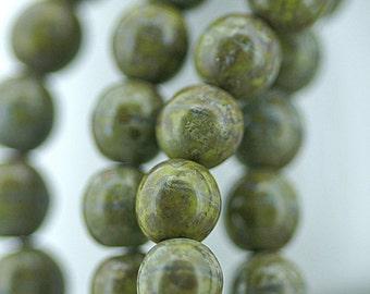 Moss Green Picasso 6mm Opaque Round Czech Glass Beads x 25