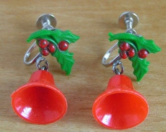 Vintage Retro Christmas Earrings Celulloid Red Christmas Bells and Holly with Berries Kitsch Screw Back Dangle Earrings