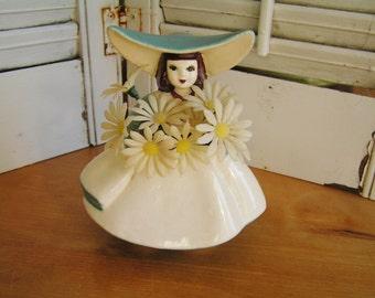 Vintage California Pottery Dutch Girl Planter Vase with Kitschy Plastic Daisies Retro USA Pottery