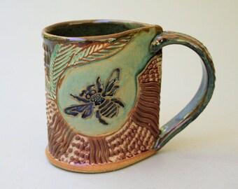 Honey Bee Pottery Mug Coffee Cup Handmade Stoneware Microwave and Dishwasher Safe