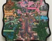 Disneyland Park Map Handmade Wooden Small Wall Hanging