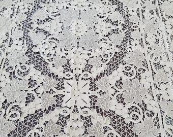 Antique Pointe De Venise Lace Tablecloth #1