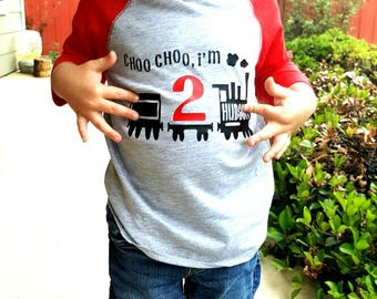 Train Birthday Shirt - Chugga Chugga Two Two - Choo Choo I'm Two - Train Birthday Shirt - Choo Choo Train Birthday Shirt  2nd Birthday Shirt