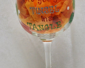 Hand Painted, Don't get your tinsel in a tangle, wine glass