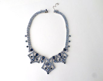 Art Deco Necklace Sapphire Rhinestone Choker Necklace Large Dramatic Blue Cut Crystal Bridal Necklace For Bride Jewelry