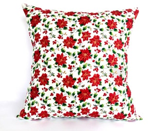 Red Poinsettia Christmas Pillow Cover Size 16, Red Christmas Cushion Cover, Christmas Decor, Holiday Decor, Xmas decorative pillow gifts