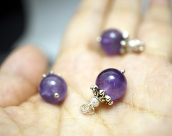Tiny 10mm Natural  Amethyst Pendant, Delicate Genuine Amethyst Jewelry, February Birthstone  Bridesmaids JewelrySimple Amethyst Necklace