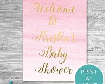 Pink Gold Baby Shower Welcome Sign, Baby Shower Welcome Sign, Welcome Sign, Pink Gold Ombre, Ombre Baby Shower, Printable, DIY