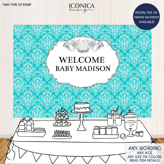 Baby Shower Party Backdrop Baby Amp Co Diamonds Party