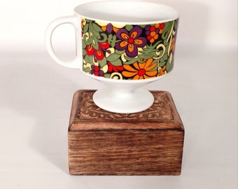Retro Flower Power 1960s Pedestal Mug Coffee Cup