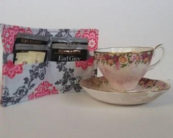 Tea Bag Wallet, Tea Bag Holder,Tea Wallet,  Tea Bag Storage, Tea Bag Caddy, Travel Tea Bag Holder, Tea Bag Case, Pink Tile Gray