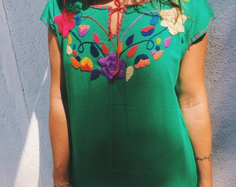 Hand embroidered Mexican cotton blouse