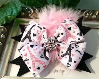 Paris Hair Bow - Toddler Hair Bow - Hairbow for Girl - Birthday Gift for Girls - Girls Hair Bows - Boutique Hair Bows - Paris Hair Clip