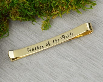 Father of the  Bride Tie Bar - Father of the Groom Gift - Best Man Gift - Personalized Secret Message Tie Bar