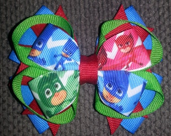 PJ Masks Handmade Blue Red Green Stacked Boutique Bow