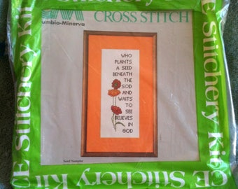 Vintage Creative Expressions Cross Stitch Kit Seed Sampler Columbia Minera Counted Cross Stitch Kit  h8