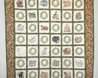 North American wildlife animals and fish machine embroidered wall hanging quilt