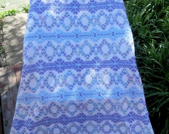 Swedish Weave on White Monks Cloth Light blue and lavender Blanket-Throw-Afghan